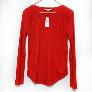 NWT LOFT Red Ribbed Long Sleeve Shirt Small
